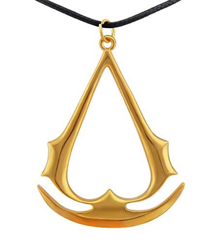 Veuer Joya de oro para hombre, símbolo medieval de Assasin's Creed, símbolo de Assasin's Creed, piel sintética, regalo de Navidad para novio, marido, hombre o mujer