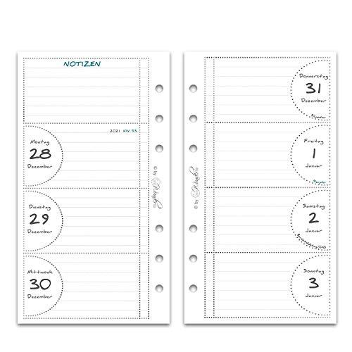 SinnWunder® Premium-Kalendereinlagen - Wochenplan mit 1 Woche auf 2 Seiten - PureSinn - 2021 Personal (A6)