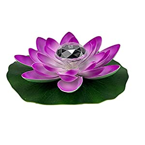 PIXNOR Artificial Floating Lotus Flower with Solar Light Water Lily Lifelike Ornament 28cm for Home Garden Pond Fish Tank Pool Decoration Purple