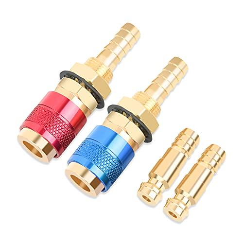 Juego de conectores rápidos de 2 piezas 8 mm, adaptador de gas de soldadura, accesorios de conexión rápida de gas para antorcha de soldadura Tig