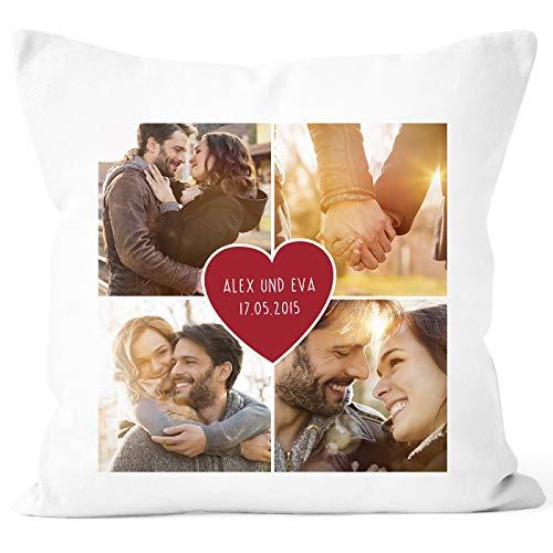 SpecialMe® Fotokissen Kissen-Bezug mit Foto-Collage Bedrucken Lassen Fotogeschenk Liebe Valentinstag weiß 40cm x 40cm