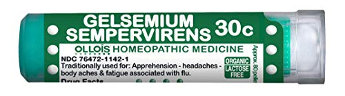 OLLOIS Organic, Lactose-Free Gelsemium Sempervirens 30C Pellets 80 Count for Apprehension, Body Aches with Flu