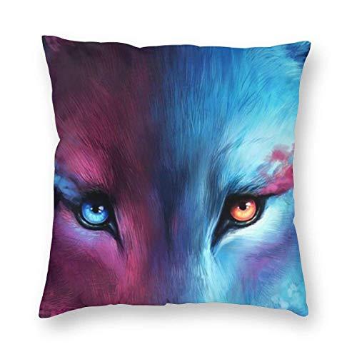 Gokruati Fundas para Cojines Lobo de Fuego Funda de cojín con impresión clásica de algodón Suave y poliéster 45 * 45 cm