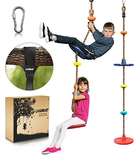 Climbing Rope Tree Swing with Platforms and 2 Disc Swings Seats - Playground Swingset Accessories Outdoor for Kids - Trees House Tire Saucer Swing Outside Playset Toys - Carabiner and 4 Ft Tree Strap