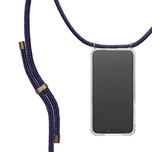 KNOK Handykette Kompatibel mitApple iPhone 7 Plus / 8 Plus- Silikon Hülle mit Band - Handyhülle für Smartphone zum Umhängen - Transparent Case mit Schnur - Schutzhülle mit Kordel in Navy