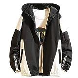 SOMESHINE Men's Front-Zip Jacket Pullover Hooded Waterproof Lightweight Windbreaker Jackets Wind&Water-Resistant Rain Jacket(Black,XL)