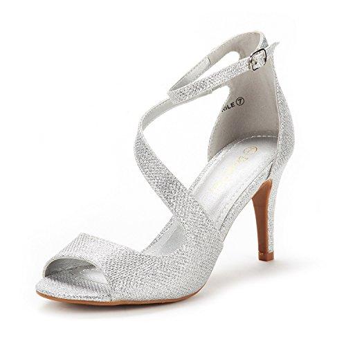 Dream Pairs Women's NILE Silver Glitter Fashion Stilettos Open Toe Pump Heel Sandals Size 8.5 B(M) US