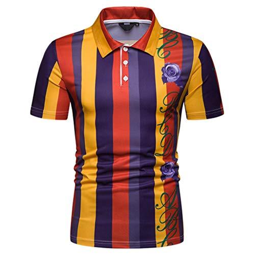 CICIYONER Polo Shirts Herren, Sommer Herren Mode Persönlichkeit Männer Casual Schlank Kurzarm Patchwork T-Shirt Top Bluse M L XL XXL