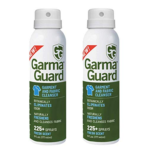 GG GARMAGUARD - Clothing Spray. On-The-Go Clothing Spray. Address Contact with Common Odor Causing Bacteria Use On Clothing, Shoes, Uniforms, Bedding, Car Seats, Sofas, More! (Pack of 2)
