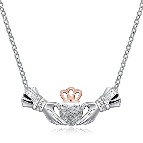 Irish Claddagh Necklace for Women Sterling Silver Girls Crystal Celtic Claddagh Hands Holding Crown Love Heart Pendant Necklace