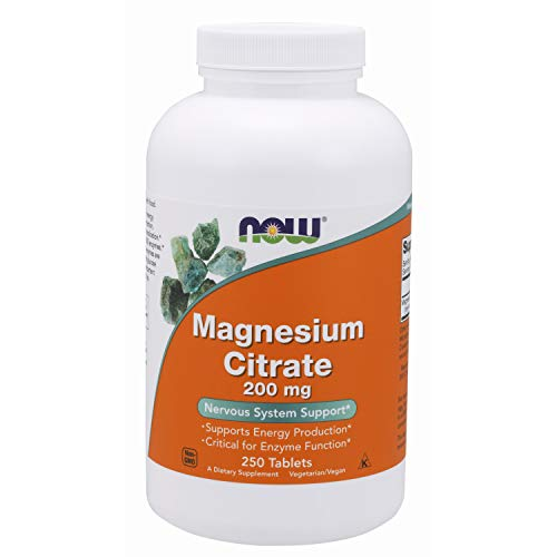 NOW 200mg Citrato de Magnesio 250 Tabletas 250 g
