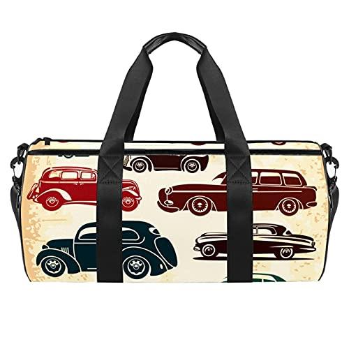 Bolsas de playa de viaje, gran deporte gimnasio durante la noche, bolsa de hombro con estampado de coches retro con bolsillo seco y húmedo