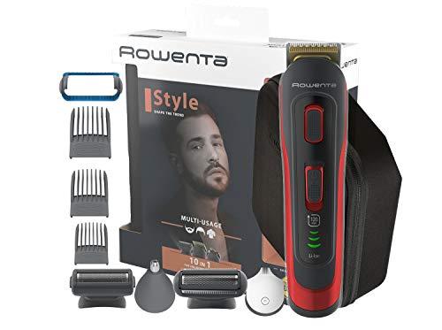 Rowenta Selectium Style Rojo TN9440 Multiaccesorios 10 en 1, Cuchillas autoafilables titanio para cabello y barba, afeitadora corporal, uso inalámbrico, autonomía de 120 min, resistentes al agua