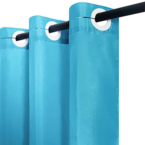 Furlinic Duschvorhang 180x183 Badvorhang Anti-schimmel Wasserdicht Waschbar, mit Groß Ösen Badewannenvorhang Duschvorhänge aus Stoff Textil Aquamarine.