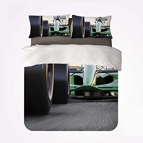 Popun Juego de Funda nórdica Cars Warm 3 Juego de Cama, Tema de Deportes motorizados Indy Cars en Carretera asfaltada con Motion Blur Formula Race para habitación
