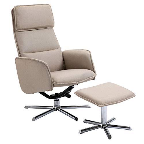 CARO-Möbel Relaxsessel Reno Fernsehsessel TV Sessel mit Hocker, inkl. Liegefunktion, Stoffbezug in beige