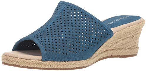 Easy Street Women's Mandy Espadrille Slide Sandal Wedge, Denim Linen, 12 M US