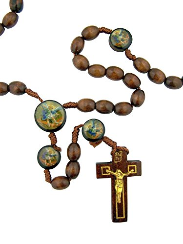 CB Mens Womens Catholic Gift Archangel Saint St Michael 10MM Wood Bead Cord Rosary Necklace with Holy Prayer Card