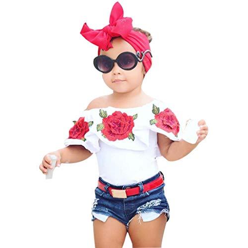 Culater 2019 Bambino Piccolo Bambini Bambine Top Rosa Fiore Pantaloni Corti di Jeans Vestiti Set (4-5 Anni, Bianco)