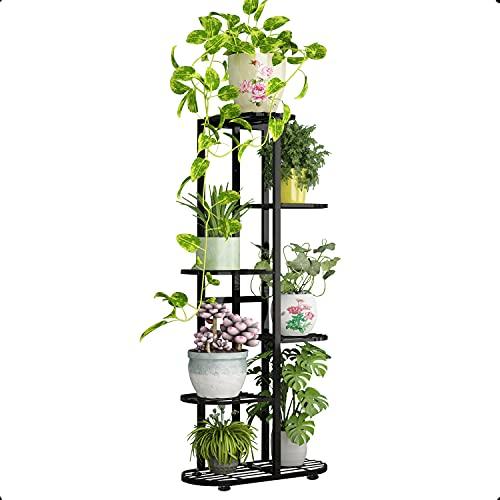 Moutik - Supporto per piante in metallo, 6 ripiani, 7 vasi in vaso, per soggiorno, da giardino, con ripiano per esposizione, colore: nero