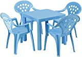 Baby Lulu Grand Soleil Children's Outdoor and Indoor Table and Chair Set - 4 Chairs - Made in Italy to European Standards with PolyPure - (Blue)