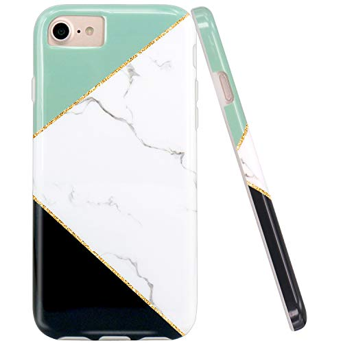 JAHOLAN Mint Geometric Black White Marble Design Clear Bumper Glossy TPU Soft Rubber Silicone Cover Phone Case Compatible with iPhone 7 iPhone 8 iPhone 6 6S