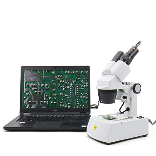 Swift Microscopio binocular estéreo S308 con aumento 20X, 40X y 80X, con cámara ocular digital de 2MP, oculares de amplio campo 10X y 20X, e iluminación de tungsteno