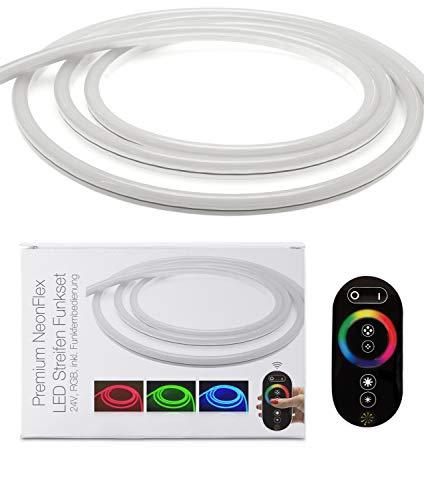 LED Uni versum Bande LED NeonFlex de qualité supérieure RVB avec bloc d'alimentation, télécommande et contrôleur, IP65, 24 V, 12 W/m, 280 lm/m, pour intérieur et extérieur 10 m