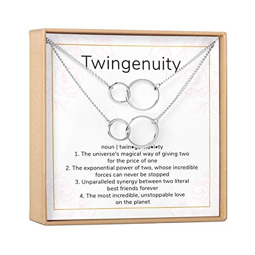 Twin Sister Gift Necklace, Jewelry Gift for Twin (2 Asymmetrical Circles Silver Set of 2)