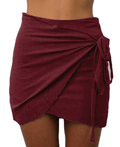 Desconocido Falda de Cintura Alta con Nudo de Corbata para Mujer Rojo Rojo Vino US XX-Large