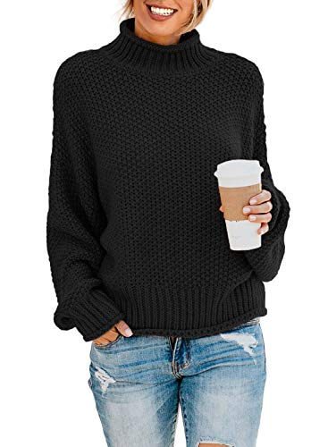 Dokotoo Womens Turtleneck Sweater High Neck Batwing Long Sleeve Loose Solid Chunky Pullovers Sweaters Casual Winter Knitted Outerwear Jumpers Tops Black Large