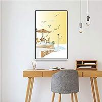 キャンバスペインティング 抽象的な海辺の風景キャンバス絵画アート北欧の装飾ポスターとプリントキッズルーム寝室の装飾ギフト 50x75cm
