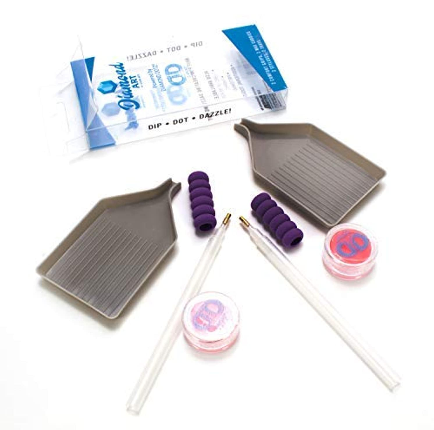 Diamond Art - Diamond Painting Accessory Kit - 2 Styluses, 2 Trays, 2 Wax Caddies and 2 Comfort Grips