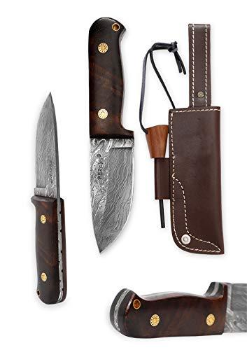 Damast Jagdmesser mit Scheide und Feuerstahl
