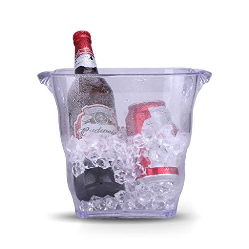 HNWNJ KTV Bar Square cerveza Cubo de acrílico Champagne cubo de vino Cubo de hielo grandes de plástico cubo de hielo cubo del envase de la cerveza del refrigerador del Champagne Enfriador de vino Cana