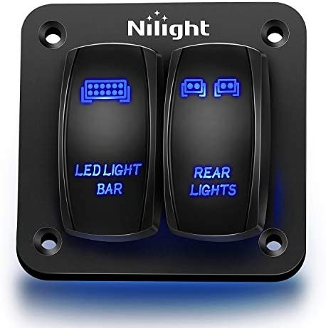 Nilight 90104B 2Gang Aluminum Laser Rear LED Light Bar Rocker 12 24V 5Pin ON Off Pre Wired Toggle product image