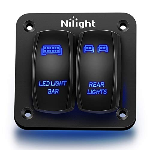 Nilight 90104B 2Gang Aluminum Laser Rear LED Light Bar Rocker 12/24V 5Pin ON/Off Pre-Wired Toggle Switch Panel for Marine Boat Car ATV UTV,2 Years Warranty