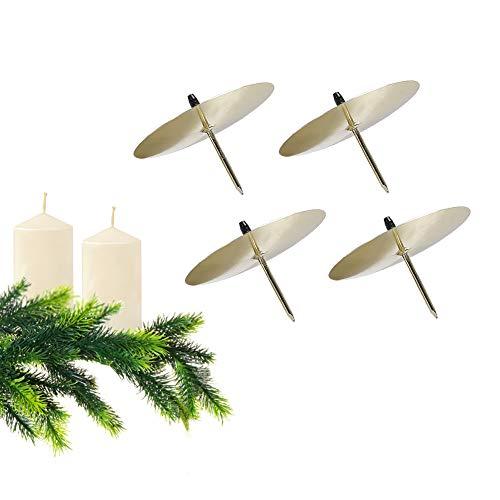 GoMaihe Portavelas Juego de 4, Candelero para Corona de Adviento Navidad Diámetro 6cm, Soporte para Velas de Metal...