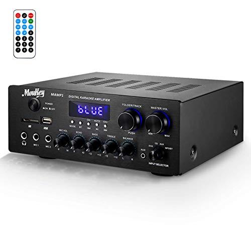 Moukey パワーアンプ システム マイクミキサー 最大出力220W Bluetooth対応 デュアルチャンネルサウンドオーディオステレオレシーバー モニタリング/USB、SD、AUX、MIC IN/エコー、ラジオ、LCD-ホームシアターエンターテインメントRCA スタジオ用 MAMP1