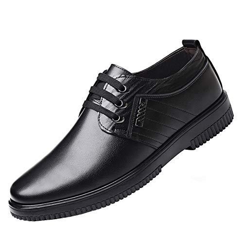 Zapato Cocina Antideslizante Hombre Cuero Comodos Trabajo Calzado de Seguridad Zapatillas con Cordones Negro