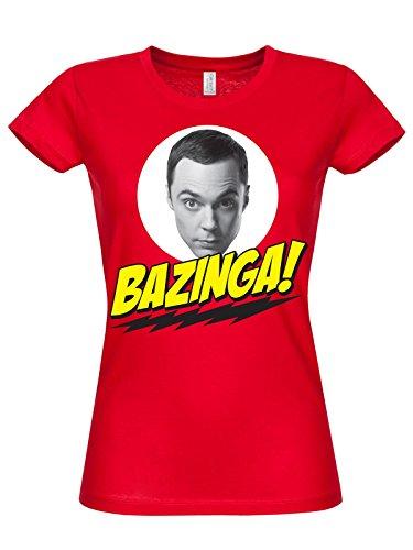 T-shirt Big Bang Theory Bazinga red Sheldon Cooper maglia donna (S)