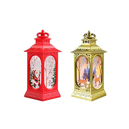 KDMB Christmas Lanterns Set of 2 Decorative Outdoor Illuminated Lights Battery Powered LED Decorative Light for Outside, Vintage Xmas Table Top Candle Hanging Flameless Lamp for Home Party Props (B)