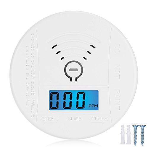 Kolmonoxidlarm Mini rund CO-sensor 36 ° detektor Förgiftningsvarning Ljud- och ljuslarm Med batteridriven CO-larmdetektor på LCD-displayen