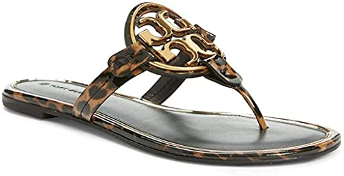 Tory Burch Women's Metal Miller Sandals Flats in Printed Patent Leather (Barbados Leopard, numeric_8)