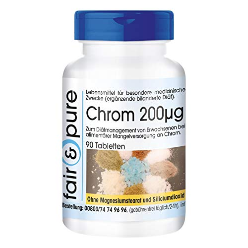 Cromo 200µg - Suplemento de Picolinato de Cromo III - vegano -...