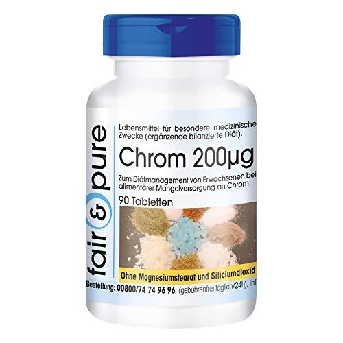 Chrom Tabletten 200µg - aus Chrompicolinat - vegan - hefefrei - ohne Magnesiumstearat - 90 Chrom Tabletten - essentielles Spurenelement