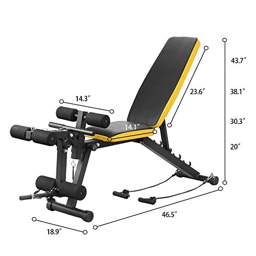 ZENOVA Adjustable Weight Bench, Multi-Purpose Flat Incline Decline Exercise Workout Bench for Home Gym