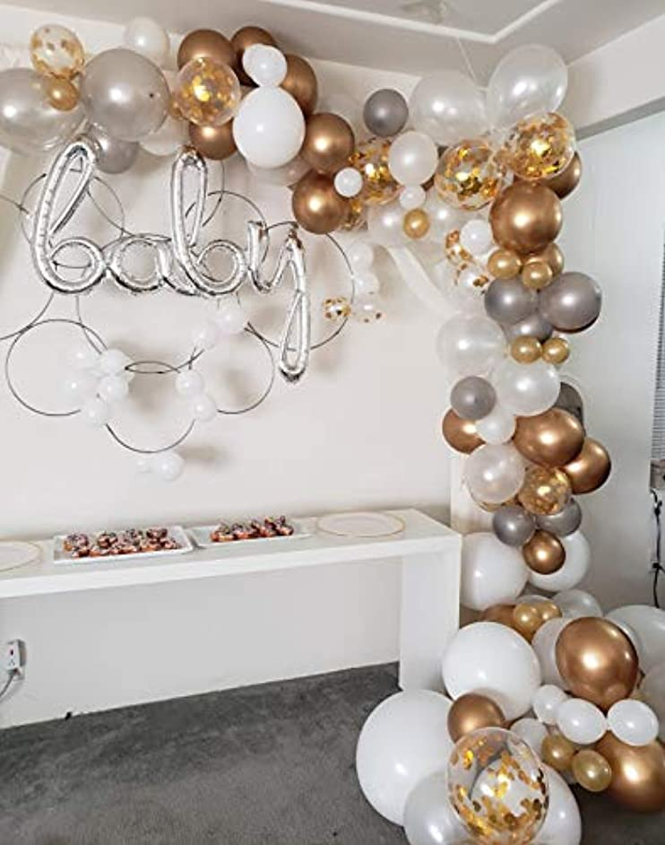 Sogorge Balloon Arch & Garland Kit | 122 White & Gold & Silver Latex Balloons, Gold Confetti Balloons Sm to Xlrge balloons | Glue Dots | 17' Decorating Strip | Wedding, Baby Shower, Graduation, Anniversary Organic Party Decorations