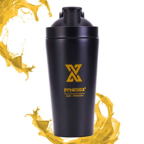 PLC020 550ML/18oz roestvrijstalen Eiwit shaker l metaal proteïne shaker | Fitness drinkfles thermofles met mixer bol | kleur oranje