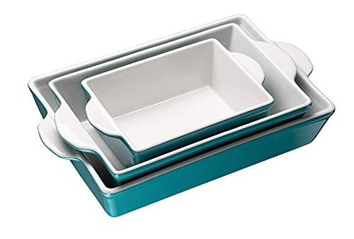 Bakeware Set, Kook, Ceramic Baking Dish, Set of 3, Casserole Dish for cooking, Cake Dinner, Banquet and Daily Use (Aqua)